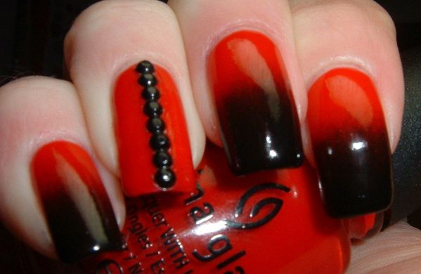 Красивый маникюр красный с черным фото