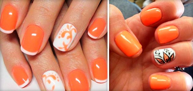 Свадебный маникюр с оранжевым цветом фото