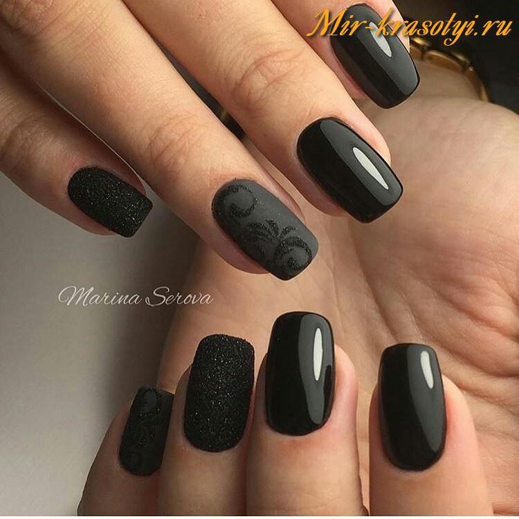 Черные матовые ногти гель лак