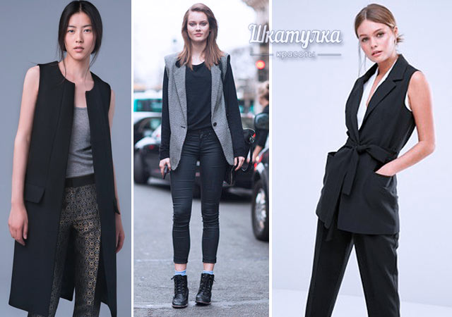 3afa4b9187d27f Een brede broek om te combineren met een mouwloos jasje is alleen wenselijk  voor lange vrouwen en meisjes